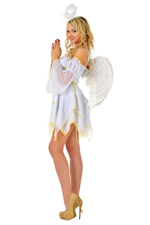 Beautiful blonde in masquerade costume of angel  Isolated image  photo