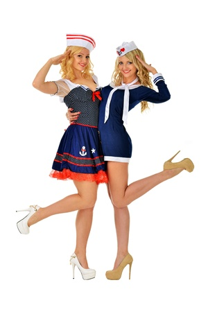 mariner: Two beautiful women in carnival sexy  costumes of seaman  Isolated image  Stock Photo
