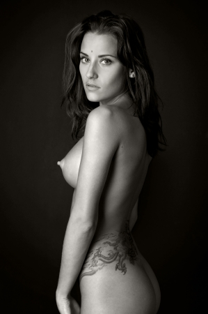 Back of the beautiful nude woman with tattoo  P  Stock Photo - 15763924