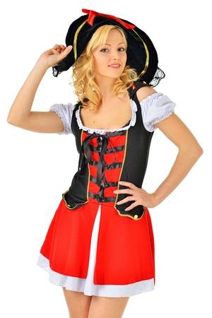mujer pirata: Hermosa mujer rubia en traje de carnaval pirata imagen aislada Foto de archivo