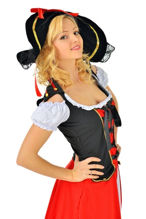 pirate girl: Beautiful blonde woman in carnival  pirate costume  Isolated image  Stock Photo