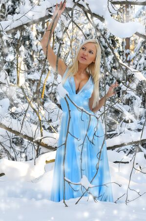 Beautiful woman in the winter forest. She is dressed only in silk gown photo