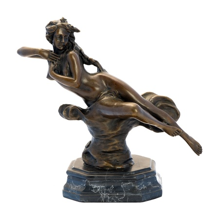 naked woman sitting: Antique bronze figurine of the woman  Isolated image