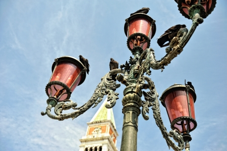 st marks square: Old streetlight at the St. Marks, square in Venice.