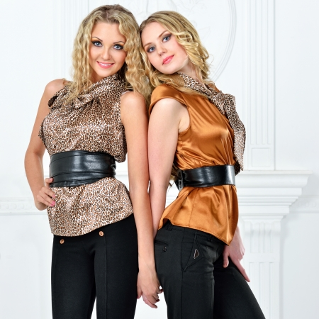 Two beautiful blonde women in elegant evening suit. Stock Photo