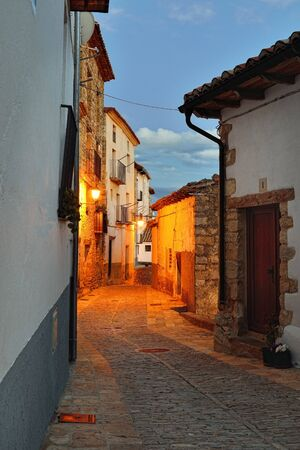 spanish landscapes: Streets of the old  town Ares in Spain   Evening time  Darkness with illumination