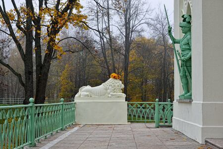 catherine: Pushkin, Russia. Statue of marble lion in Catherine park.