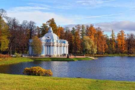 by catherine: View to the Grot pavillion in Catherine garden. Autumn landscape in Pushkin, Russia.
