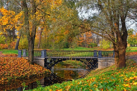 selo: Autumn landscape in Catherine park, Pushkin, Russia, View to the river and bridge. Stock Photo