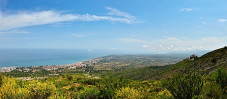 spanish landscapes: View from the mointain to sea in Spain. Panoramic landscape.