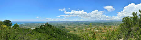 solitude: View from the mointain to sea in Spain. Panoramic landscape.