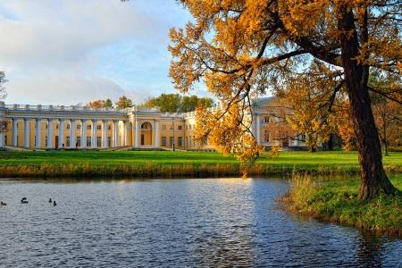 tsarskoye: The Alexander palace in Pushkin, Russia. Autumn landscape