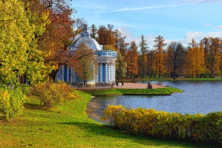 tsarskoye: View to the Grot pavillion in Catherine garden. Autumn landscape in Pushkin, Russia.