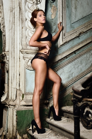beautiful woman in lingerie. , Studio with interior of old palace. Not necessary property release. Stock Photo - 22284032