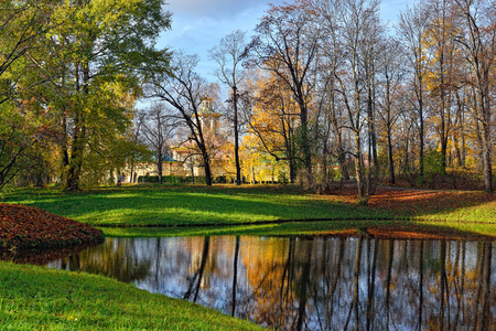 tsarskoye: Autumn Landscape in Catherine park, Pushkin, Russia. View to the Chinese pavilion. Stock Photo