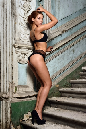 beautiful woman in lingerie. , Studio with interior of old palace. Not necessary property release. Stock Photo - 22706465