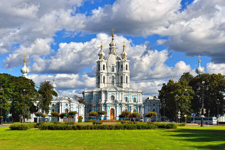 st  nicholas cathedral: St. Nicholas Cathedral in Saint-Petersburg, Russia. Summer sunny day.