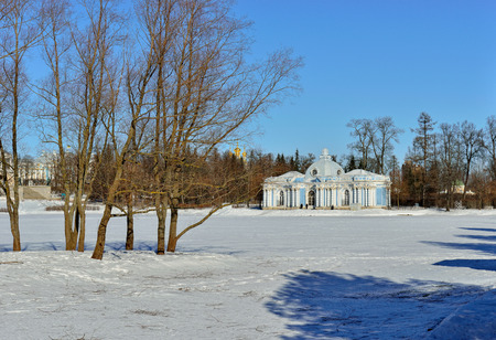 pushkin: Landscape with Grot pavillion in Catherine garden. Winter snowy sunny view in Pushkin, Russia. Editorial