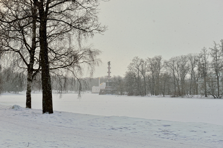 pushkin: Winter  landscape with Turkish Bath  and Chesme Column pavilion and lake in Catherine garden, Pushkin, Russia