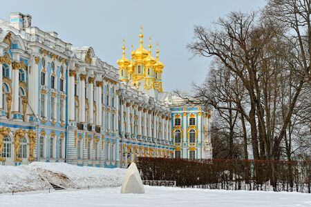 pushkin: Winter landscape of the Pushkin town, Russia. View to the Catherine palace through the alley.