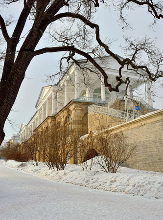 ensemble: Winter  landscape with Cameron Gallery   Ensemble in Catherine garden, Pushkin, Russia