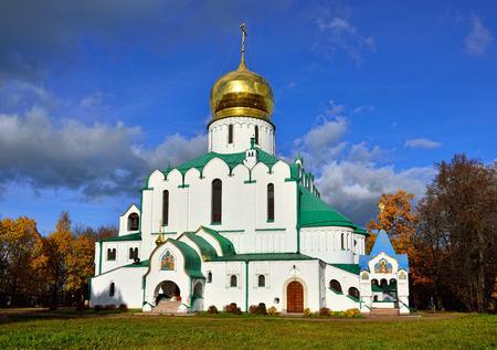 pushkin: Facade of Fedorovskiy cathedral in Pushkin, Tsarskoe selo. Sunny autumn day. Stock Photo