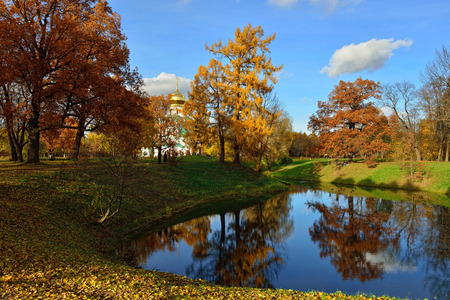 by catherine: Autumn landscape with pond in Catherine garden, Pushkin, Russia Stock Photo