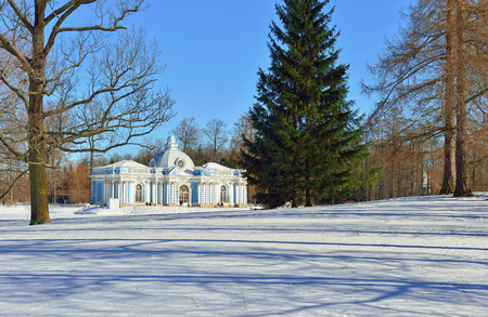 catherine: Landscape with Grot pavillion in Catherine garden. Winter snowy sunny view in Pushkin, Russia. Editorial