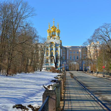 pushkin: Winter landscape of the Pushkin town, Russia. View to the Catherine palace from the road.