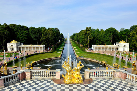 cascade: The Grand Cascade, palace and Samson Fountain in Peterhof, St-Petersburg, Russia Editorial
