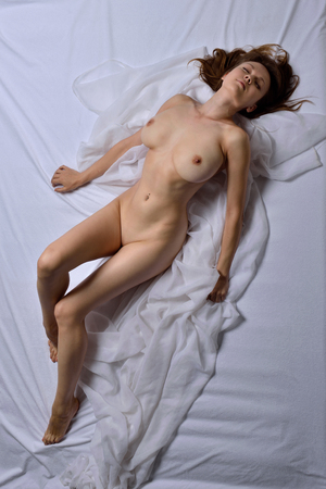 beautiful naked woman: Naked beautiful woman with big breast. View from the top high angle.