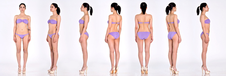 Many woman figures  fill lengh from all angles in black underwear in studio with grey background. Not object. Фото со стока