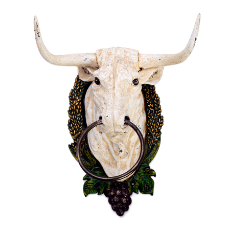 nose ring: Wall decoration depicting a bulls head with ring in a nose. Isolated image.