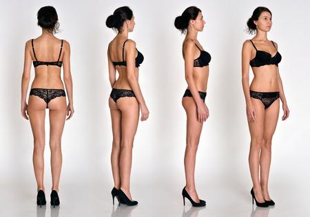 Muchas mujeres tienen figuras de cuerpo entero desde todos los ángulos en ropa interior negra en estudio con fondo gris. No objetar.