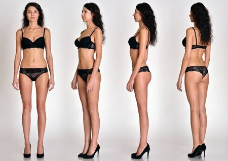 Viele Frauenfiguren in voller Länge aus allen Blickwinkeln in schwarzer Unterwäsche im Studio mit grauem Hintergrund. Nicht widersprechen.