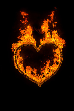 fire heart: Fire heart at night on black background
