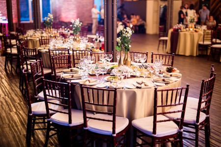 hospitality: night wedding table decorated with indoor lights