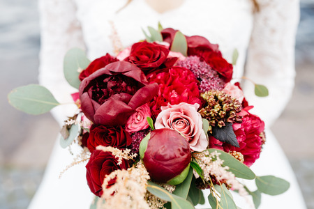 wedding bouquet in the style of boho-chic