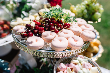 sweet candy and berries bar in wedding day