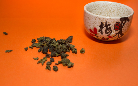 Green tea and a cup with a hieroglyph