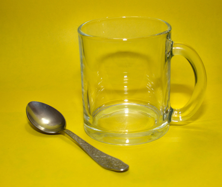 transparent glass and spoon