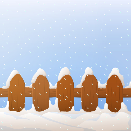 christmas snow: Vector wooden fence with snow. Wooden fence with winter background, snowflakes, blue sky.
