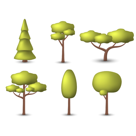 pine spruce: Trees icons set isolated on white background. Pine, spruce, oak, fir tree icons vector isolated.