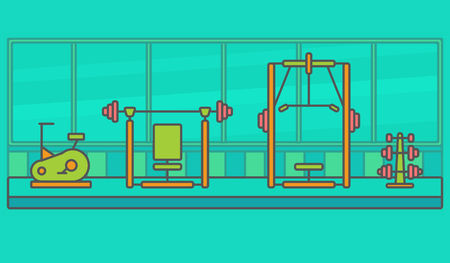gym equipment: Gym of thin line. Flat fitness sport gym exercise equipment. Illustration