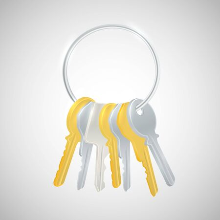 keyring: Bunch of keys. Bunch of golden and silver keys. Isolated keys on white background.