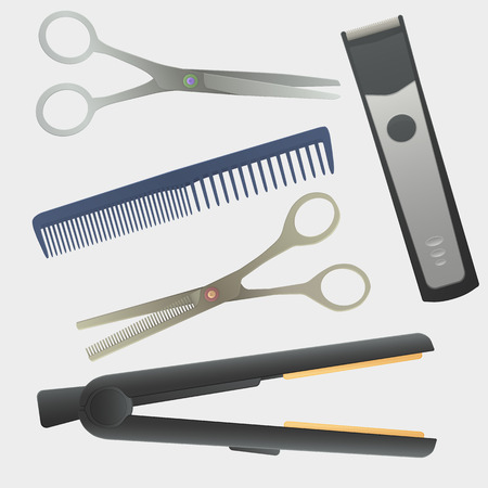 scissors hair: hairdressing tools. realistic illustration. hairdressing instruments. Comb, scissors, thinning scissors, hair machine, hair straightener. Illustration