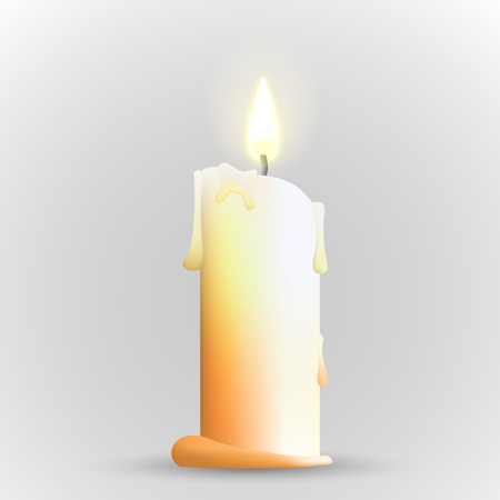 white candle: Isolated realistic candle. illustration of candle. Candle with flame. Burning candle.