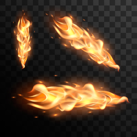 Set of realistic fire flames. Realistic fire flames set. illustration of fire elements.