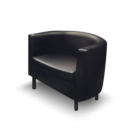 armchair: Realistic black armchair isolated on white background. Interior object.