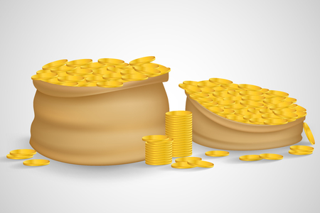 it is full: Bag of coins. Bag of money. Sack with full gold coins in it. Sack of coins. Gold coins. Sack full with gold coins. Isolated bag of coins. Sack of coins isolated on white background. Bag of money. Illustration